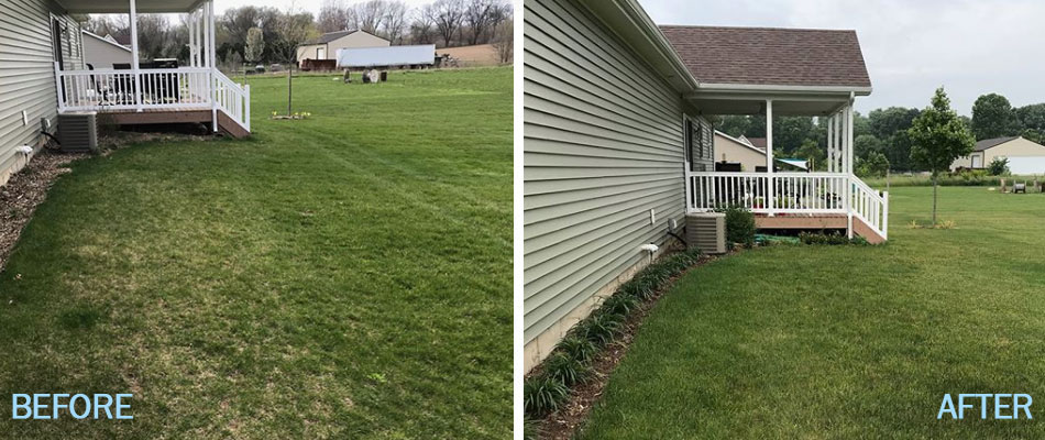 Green lawn in South Bend, IN after overseeding and weed control.