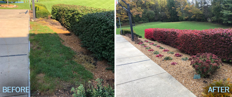 Before and after of landscaping bed cleanup and annual flowers  planted in a Granger, IN.
