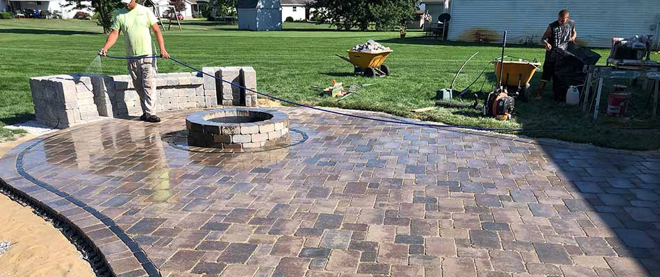 Custom fire pit and patio construction in Elkhart, IN.