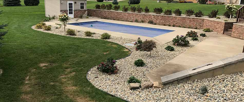 Custom stone landscaping design in Osceola, IN.