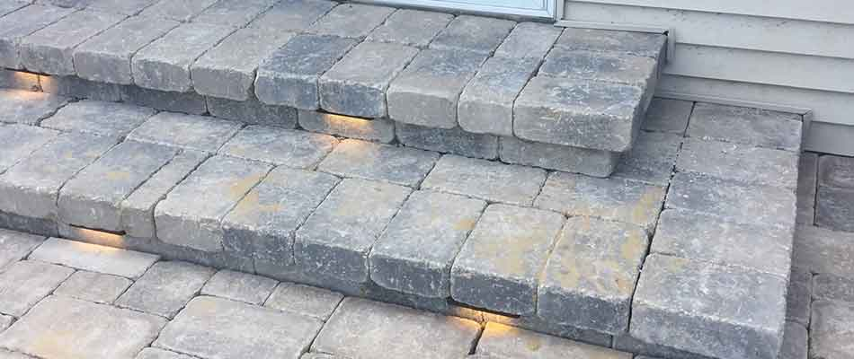 Custom stone steps for a homeowner in Goshen, IN.
