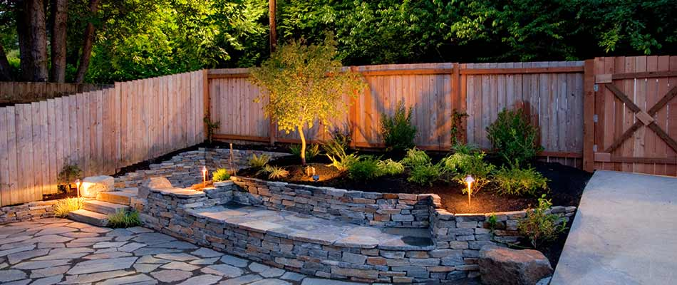 Flagstone patio with outdoor lighting services in Elkhart, IN.