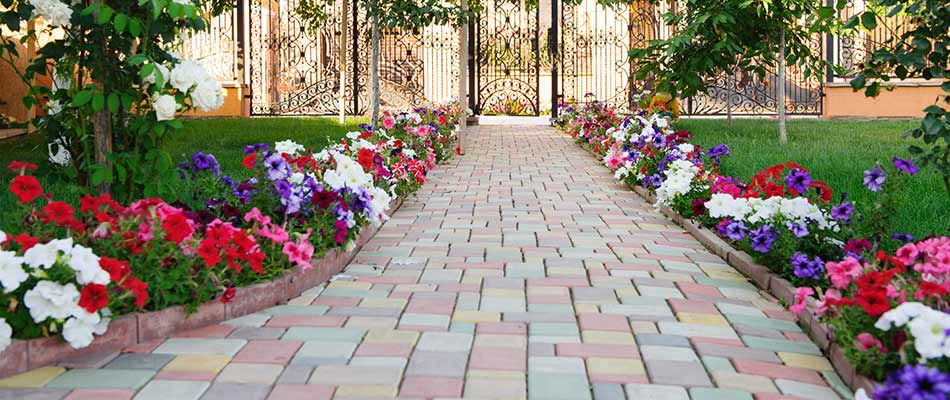 Flowers blooming along a custom walkway near South Bend, IN.