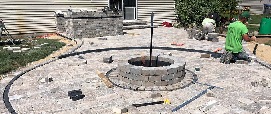 Custom paver patio and fire pit in Granger, IN.