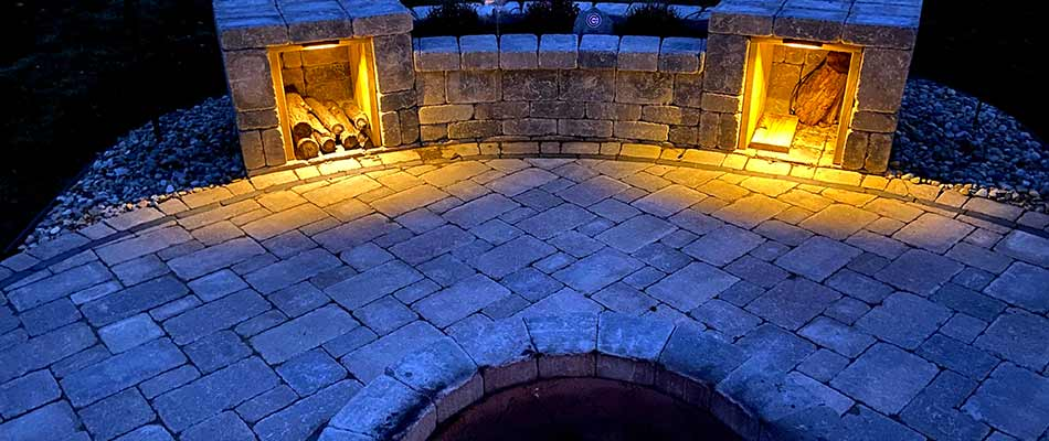 Custom paver patio and outdoor lighting installed at a residential property in South Bend, IN.