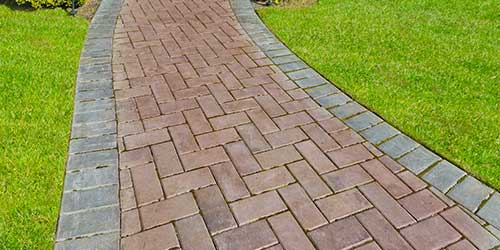 Brick paver walkway installed at a property in Granger, IN.