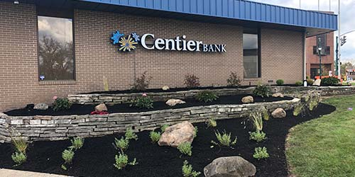 Freshly installed landscape bed and mulch around Centier Bank in Granger, IN.